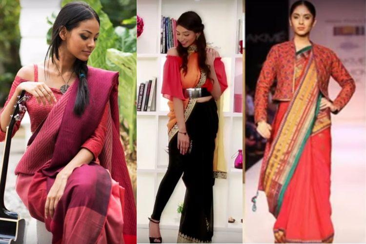 26105862747 Saree with crop top, saree with shirts: If the traditional garment is to  survive, it must evolve