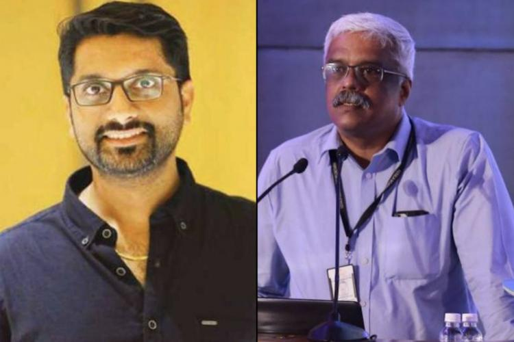 A collage of gold smuggling accused Sarith and Kerala CMs former Principal Secretary M Sivasankar Sarith is wearing a navy blue shirt and smiles in the photo Sivasankar is standing on a dias in a light blue shirt and is speaking to an audience in front of him