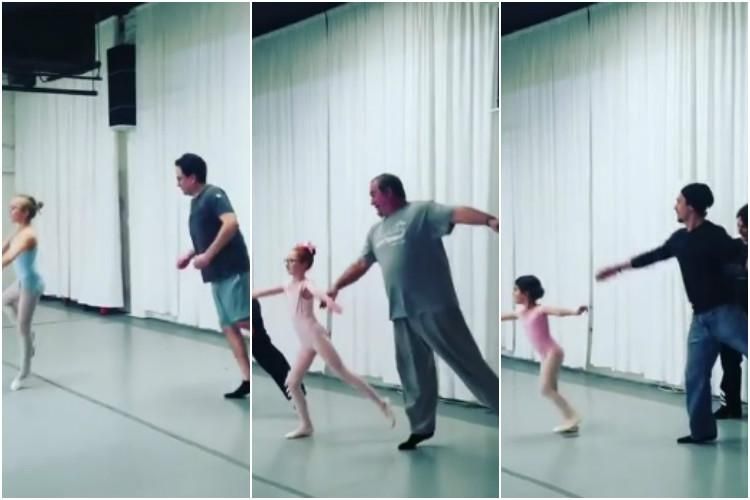 This video of fathers joining their daughters in ballet training is adorably hilarious