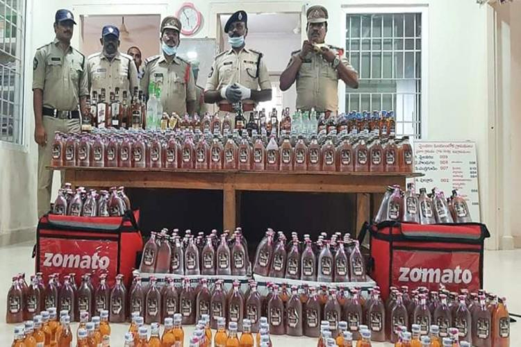 Krishna district cops with busted smuggling alcohol
