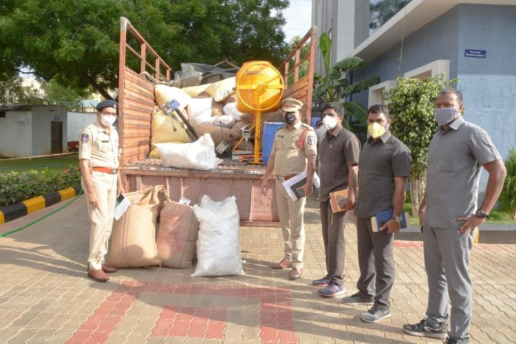 Rachakonda police with seized spurious seeds and other material