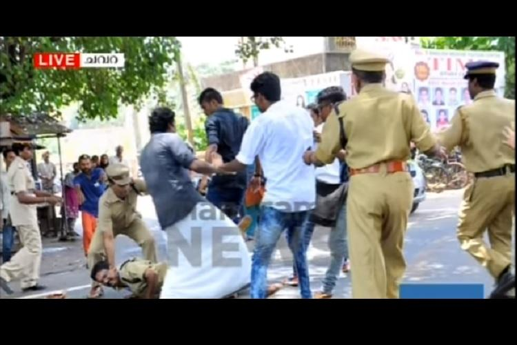 Video shows how SFI activists assaulted a policeman in Kerala