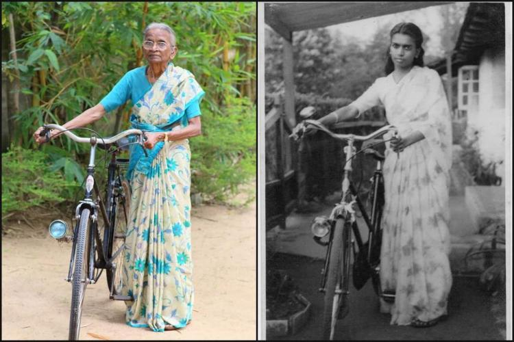 Two pictures of Shirly Paul with bicyle in colour and black and white