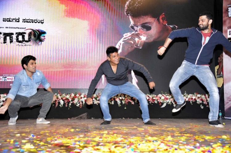 Shiva Rajkumar shakes a leg with Allu Sirish Rakshit Shetty at Tagaru teaser launch