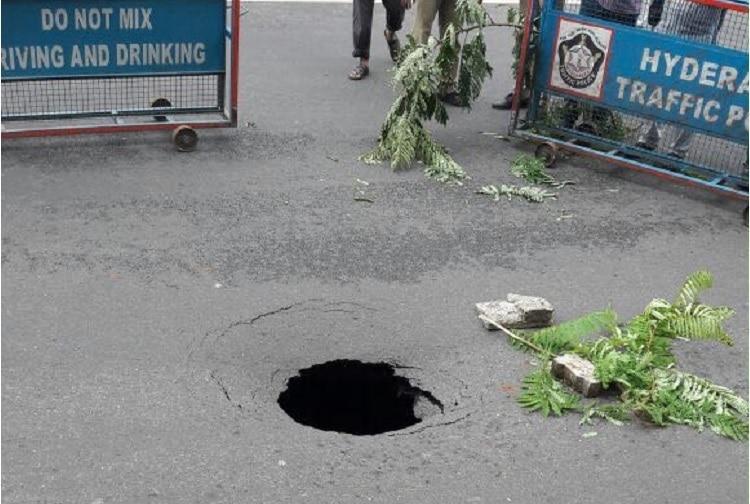 As Hyderabad floods again sinkhole on NTR Marg causes social media furore