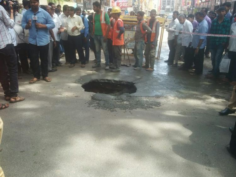 Bengaluru Sinkhole caused by metro work BMRCL official blames civic agency