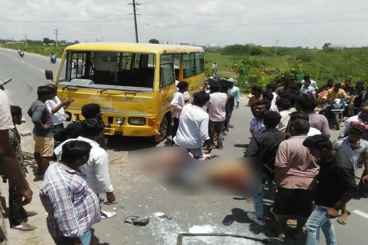 Three children die in road accident after school bus hits median in Telangana