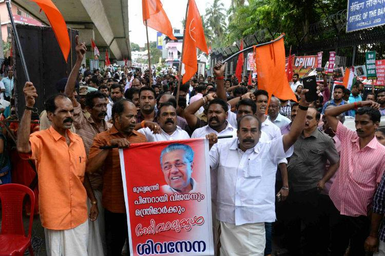 Strange partners Shiv Sena and Congress support Pinarayi satyagraha in Kerala
