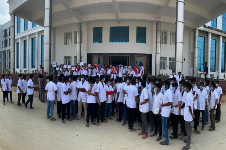 No facilities unfair curfew Govt medical college students in Telangana stage protest