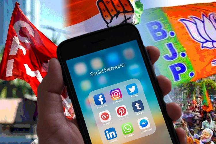 Social media apps on a phone with political party flags in the background