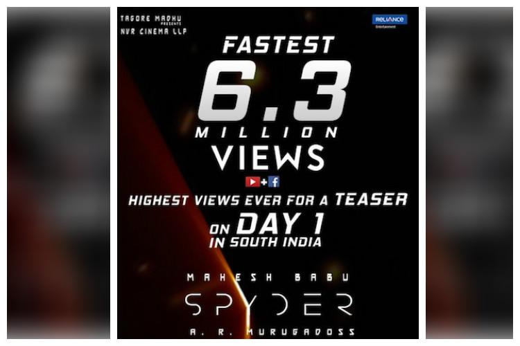 Spyder teaser goes viral clocks 63 million views on YouTube FB in less than 24 hours