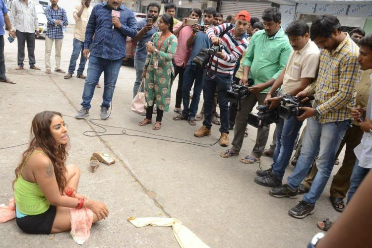 Strip protest by aspiring actress in Hyderabad