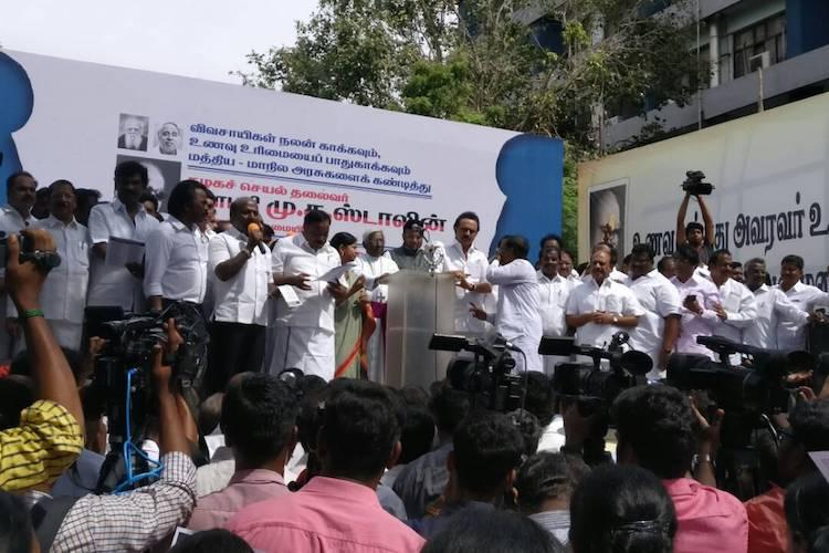 Stalin leads protest against Centres licence raj on cattle sale outside Chennai collectorate