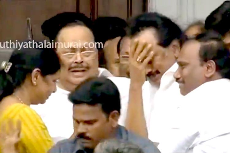 Marina for Karunanidhi Rajaji hall erupts in cheer Stalin breaks down