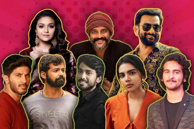 Collage of Keerthy Suresh Murali Gopy Prithviraj Kalyani Priyadarshini Dulquer Salmaan Pranav Mohanlal Kalidas Jayaram Shane Nigam