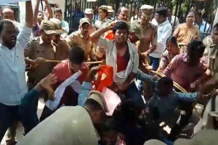 Telangana inter results Students protest against inefficient board cops detain them