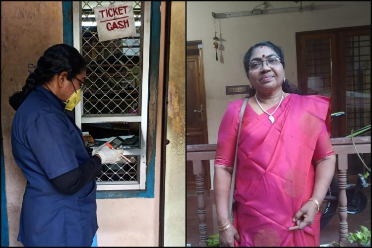 Suma in uniform returning ticket rack and Suma in casual clothes
