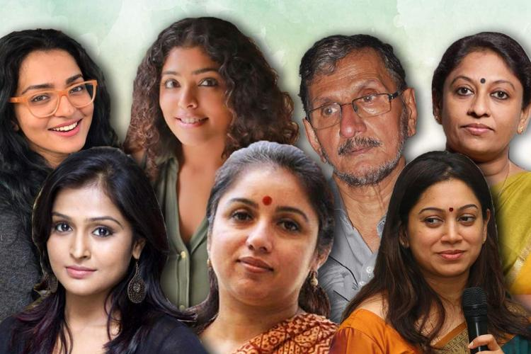 A collage with two rows Malayalam actors Parvathy Rima Kallingal author NS Madhavan and KR Meera on top row Remya Nambeessan Revathy and Anjali menon on second row