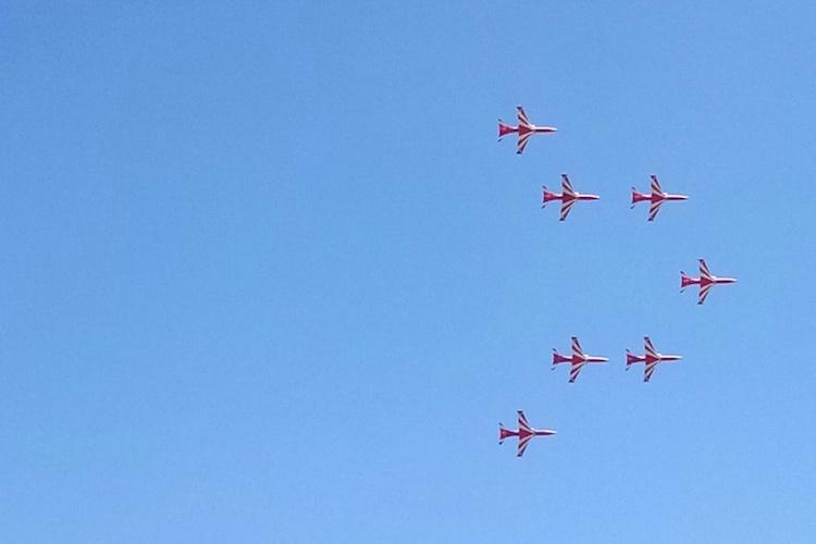 IAFs Surya Kiran team pays tribute to Wing Commander Sahil Gandhi at Aero India 2019