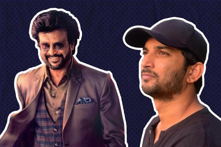 Rajnikanth smiling wearing shades and a coat on the left and Sushant Singh Rajput on the right in a cap