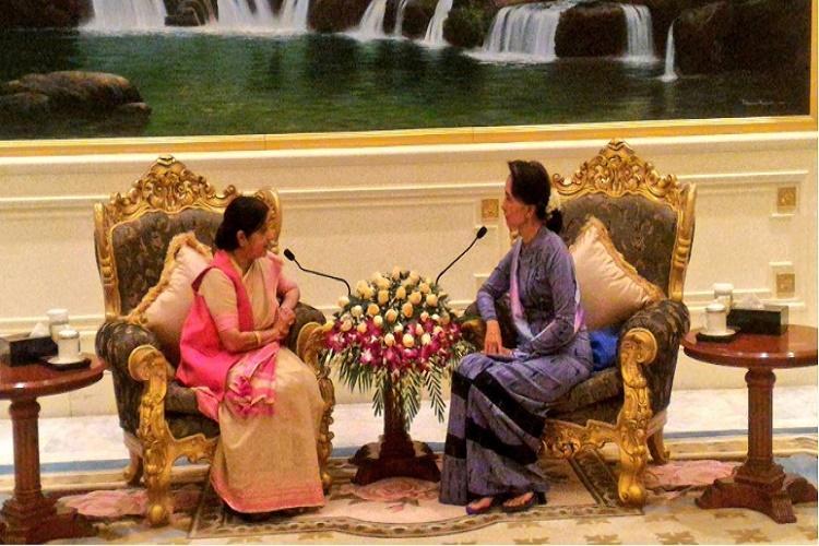 External Affairs Minister Sushma Swaraj meets Myanmar Foreign Minister Aung San Suu Kyi