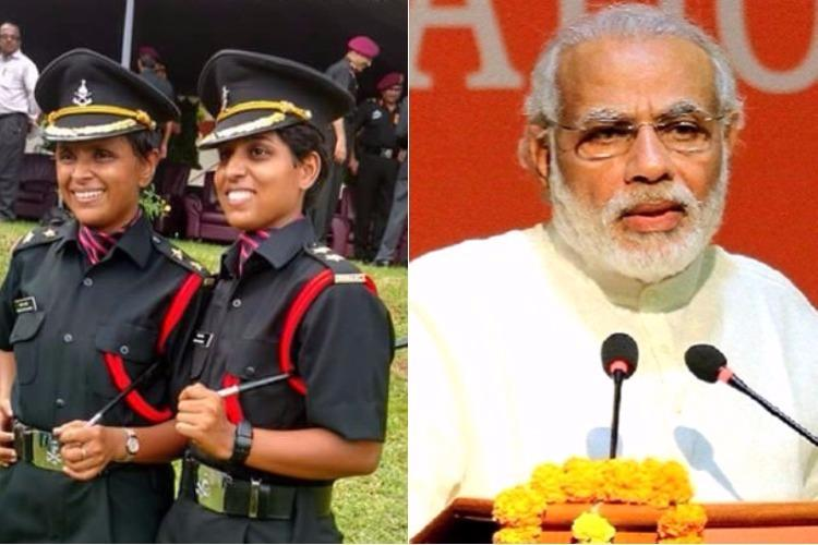 Modi salutes Lieutenants Swati Nidhi who joined Army after their husbands were martyred