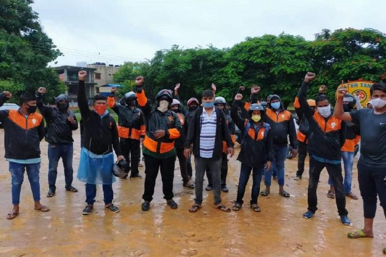 Swiggy delivery executives protesting in Hyderabad