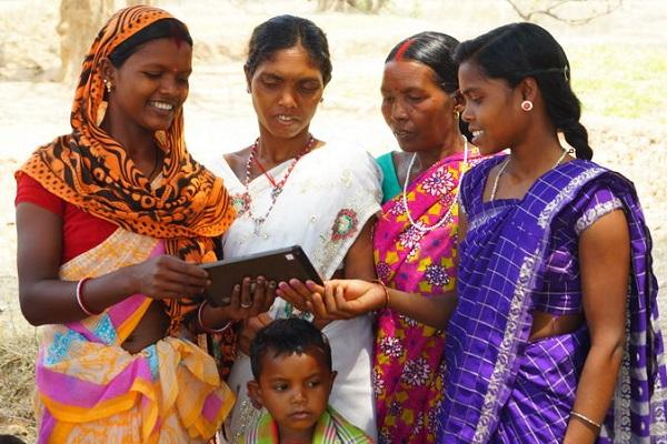 Indian village women with tablet
