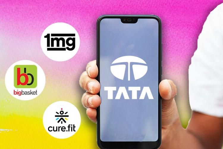 A graphic of a phone held with Tata logo and 1mg bigbasket and curefit logos in the background