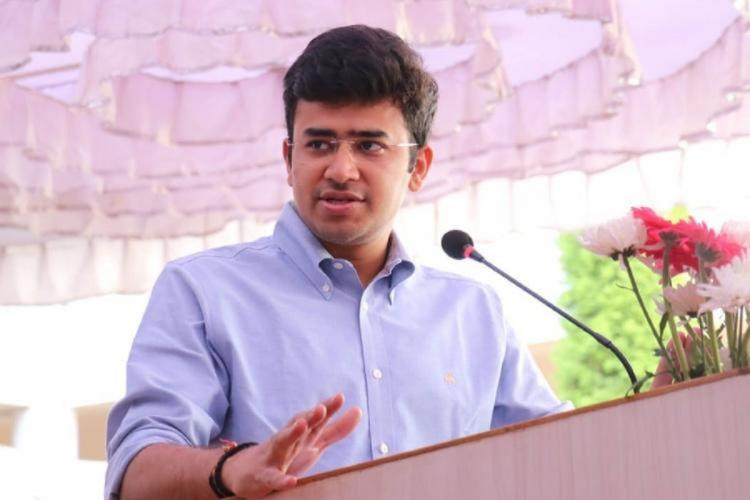Tejasvi Surya speaking at a presser