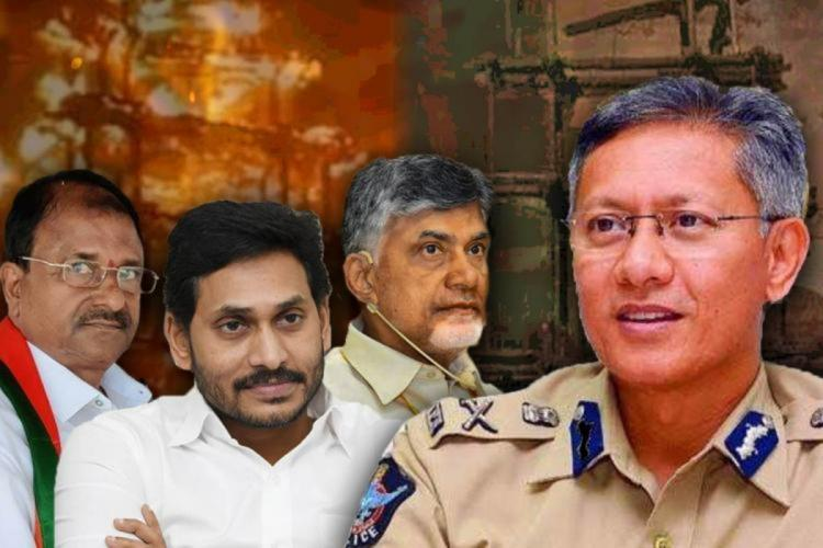 A collage of Andhra DGP Chandrababu Naidu YS Jagan Mohan Reddy and Somu Veerraju