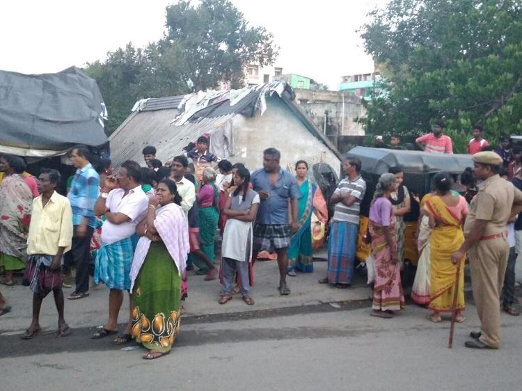 Thideer Nagar residents protest eviction from near Cooum ask for new houses nearby
