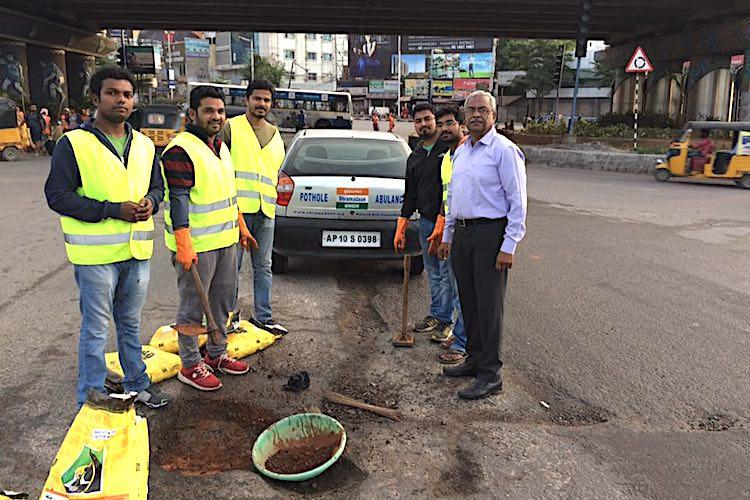 As crater Hyderabad makes a return road doctor steps in once again to fix potholes