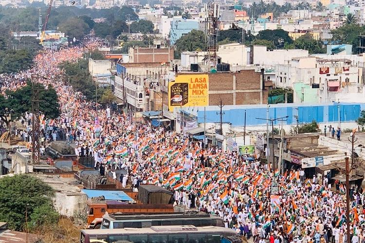 AIMIMs Hyd Tiranga March Thousands hold national flags in protest against CAA NRC
