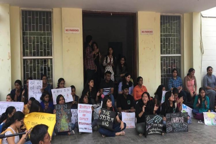 TISS students lay seige to admin office vow to protest until officials visit Hyd