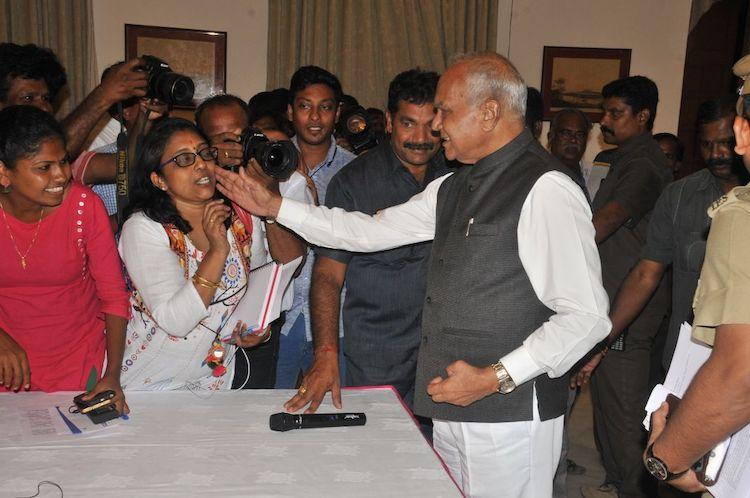Angered and agitated Woman journo patted on the cheek by TN guv responds