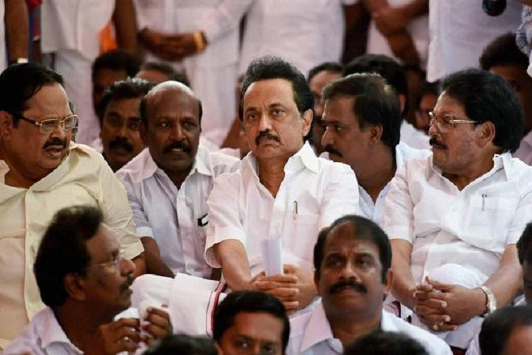 Suspended DMK MLAs conduct mock assembly with Durai Murugan as Speaker