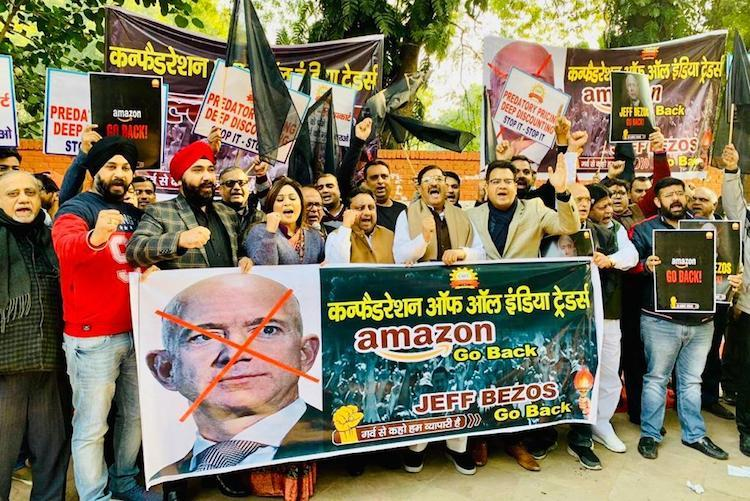 Go back Jeff Bezos Traders across the country protest Amazon CEOs visit to India