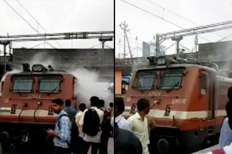 Smoke billows out of engine of Guruvayur-Ernakulam passenger train