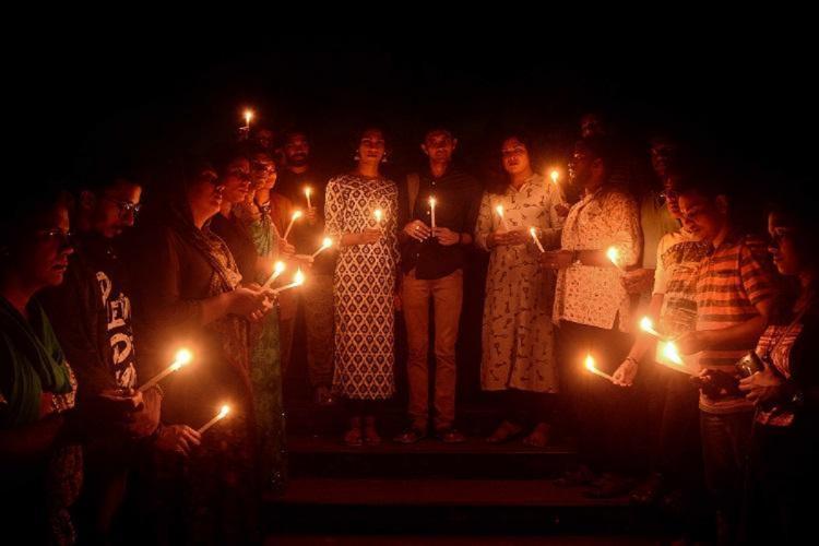 Tranagender people lighting candle during night in Thiruvananthapuram