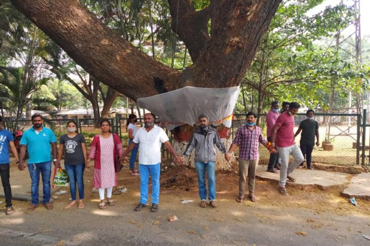 Trees being protected by residents living around HAL Junction in Bengaluuru
