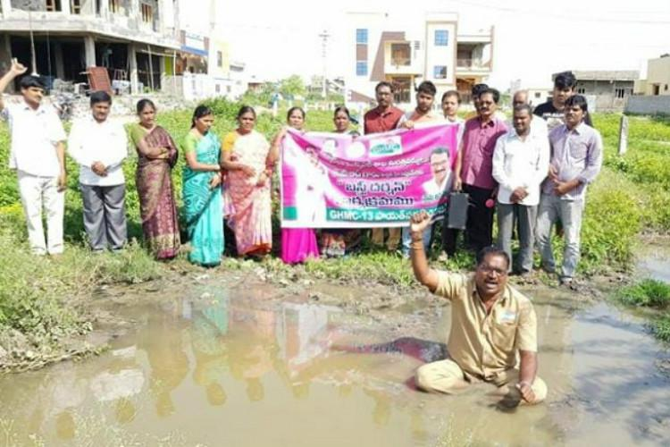 Hyderabad corporator declares war against overflowing sewage sitting inside sump