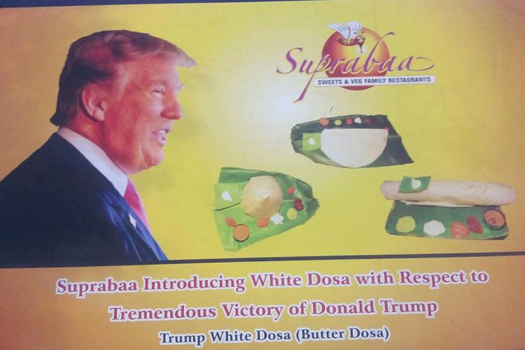 This Chennai restaurant invented the White Dosa as a tribute to Donald Trump