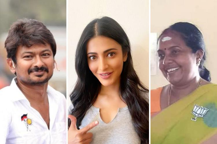 Collage of Udhayanidhi Stalin Shruti Haasan and Vanathi Srinivasan