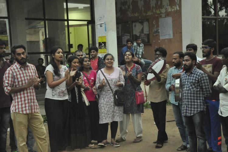 UoH slaps show cause notice on students for wall paintings of Ambedkar Bhagat Singh