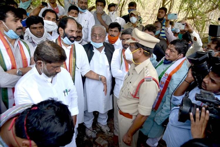 Telangana Congress top brass at disputed land site