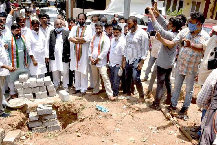 Leaders of the Telangana Congress protest at the land in question