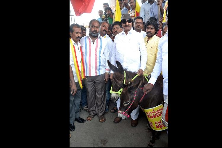 Braying for justice Vatal Nagaraj protests failure of Ktaka assembly session with donkeys