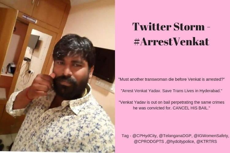 Arrest Venkat Tweetstorm by trans community for police inaction against murder accused