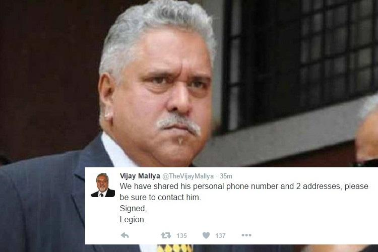 Vijay Mallyas Twitter account hacked emails passwords and personal details leaked